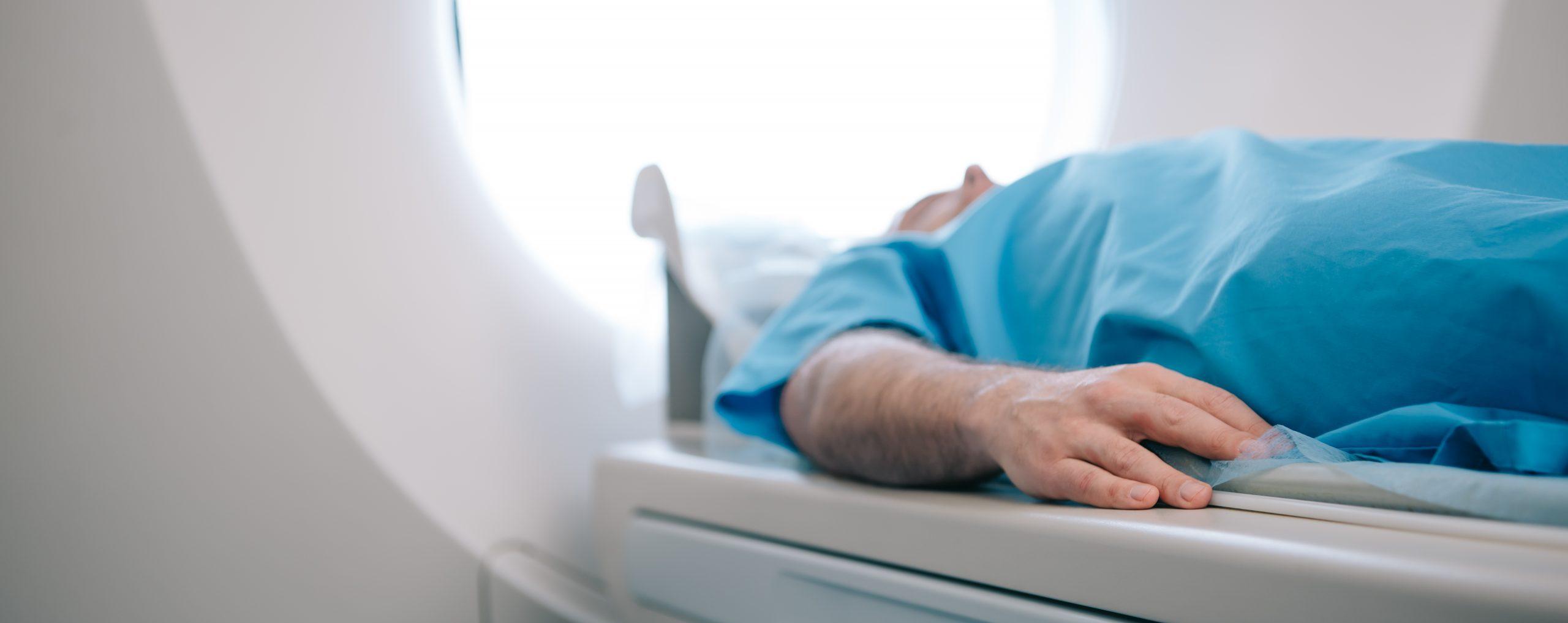 patient in ct scanner machine